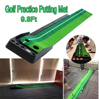 3meters Indoor Golf Putter Trainer Set Golf Practice Putting Mat Golf Green Trainer Chippin Driving Hitting Synthetic Golf Turf