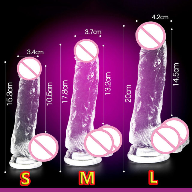 CPWD Jelly Realistic Dildo Soft Male Artificial Penis Crystal Realistic Sex Toys for Woman 3 colors 3 sizes Suction Cup Dick
