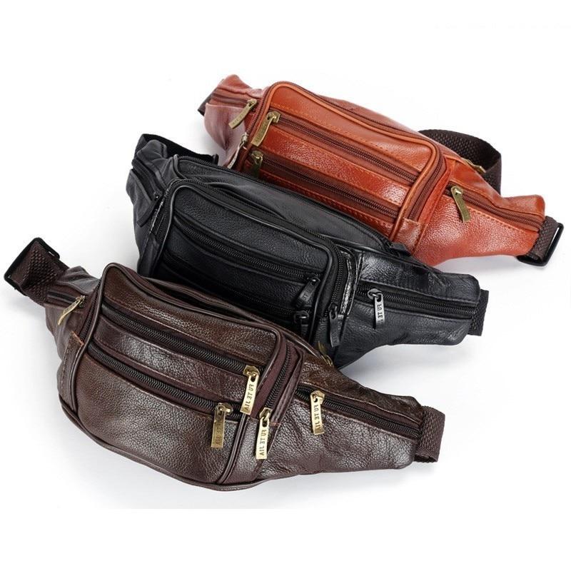 Vintage Waist Belt Bag Waist Bag Men Genuine Leather Fanny Pack For Unisex Travel Money Phone Necessity Organizer Hight Quality