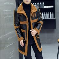 2020 men clothing hair stylist GD fashion Autumn Winter medium length fur coat thick leather jacket singer costumes