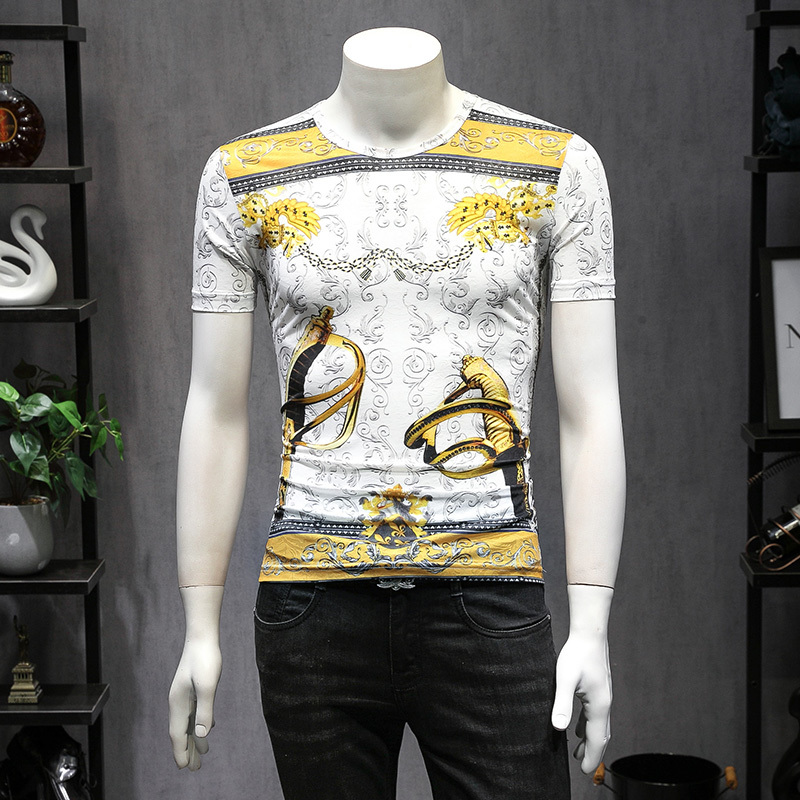 Gold Black White Tshirt Men Fancy Club Outfit Men Slim Fit Luxury Vintage T Shirts Homme Poleras Hombre Camisas Hombre Fancy Tee