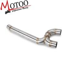 Motocykl pełny układ wydechowy bliski rury Link podłączyć akcesoria dla Yamaha FZ6 FZ6N 2004 2005 2006 2007 2008 2009
