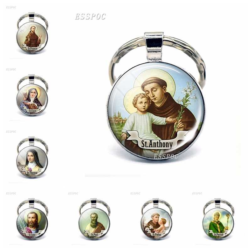 St Anthony Keychain Saint Keyring Bring Love To Your Life Medal Jewelry Gift Religious Cabochon Religious Jewerly Key Chain Ring