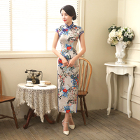 Long Vintage Cheongsam Qipao Pattern Dresses Restore Ancient National Chinese Dress Satin Robe Orientale Elegant Women Designed