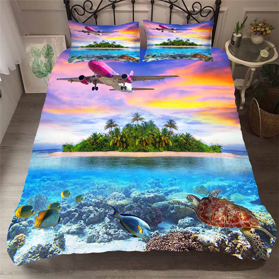 Bedding Set 3D Printed Duvet Cover Bed Set Beach Island Home Textiles For Adults Bedclothes With Pillowcase HL23