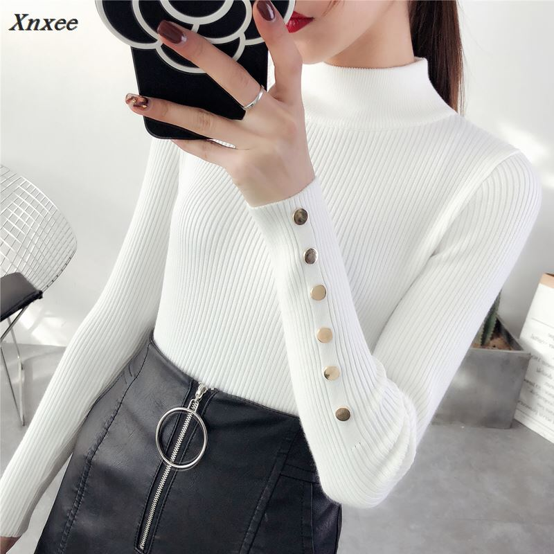 Half downneck female thickening 2018 new winter sweater slim all match elastic knit Xnxee in Pullovers from Women 39 s Clothing
