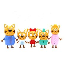 5pcs/lot Three Little Kittens Action Figure Toys Russian Cartoon Anime Mini Happy Cats TpnkoTa Doll For Children Christmas Gift(China)