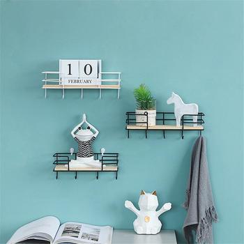Nórdicos de madera montado en la pared de hierro estantería colgante Rack  de almacenamiento con ganchos para DIY sala de decoración de dormitorio  titular 8eb0b51bdac4