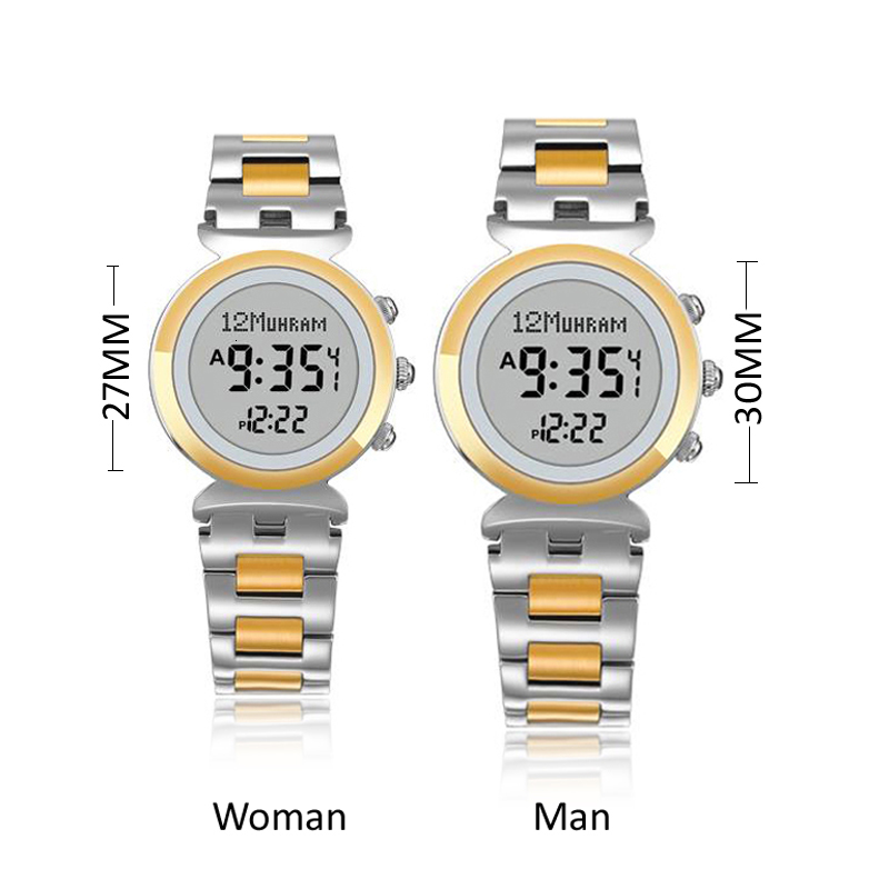 Watches Stainless Steel Waterproof Muslim Lover Watch 27mm For Lady 30mm Man Athan Watch With Quran Bookmark Adhan Clock Leather Box Complete In Specifications