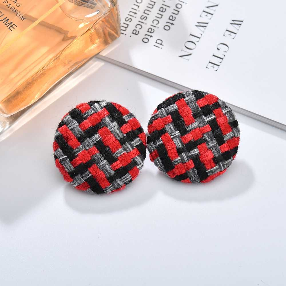 MESTILO Vintage Geometric Oval Big Round Circle Stud Earrings For Women Statement Cloth Earrings Fabric Jewelry Decoration