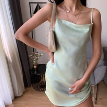 2019 Summer Fashion Sleeveless Spaghetti Strap Dress Women Sexy Side Drawstring Slim Mini Dress Solid Beach Dress plus drawstring side solid tee dress
