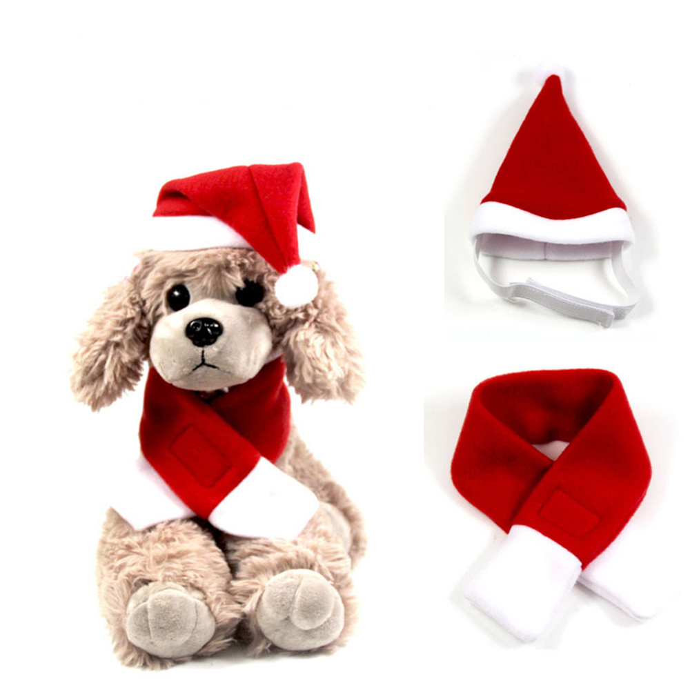 Pet Products Fast Deliver Dog Cat Caps Pet Santa Hat Birthday Scarf And Collar Bow Tie Christmas Costume For Puppy Kitten Small Cats Dogs Pets Accessories
