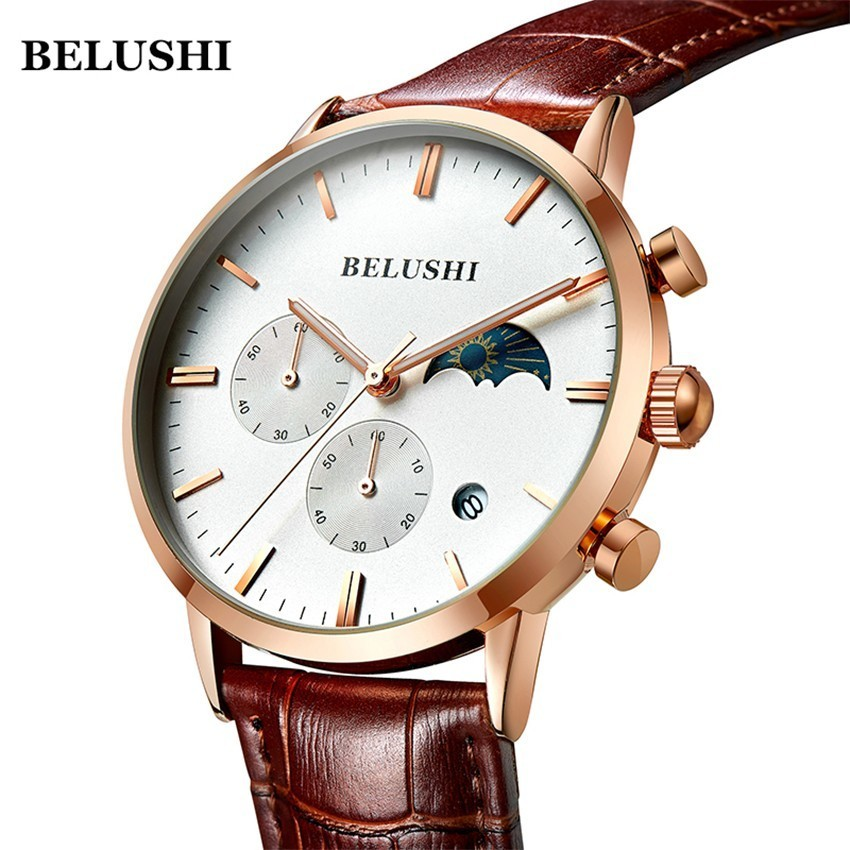 Watch Men Sports Watches Quartz Moon Phase Date Analogue Chronograph Business Watches  Belushi Luxury Watches Top Brand Mens