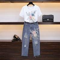 2019 Summer New Fashion Women Set Floral Embroidery 3d Flower Appliques Cotton Tshirt + Ripped Hole Jeans Suit Two Piece Sets