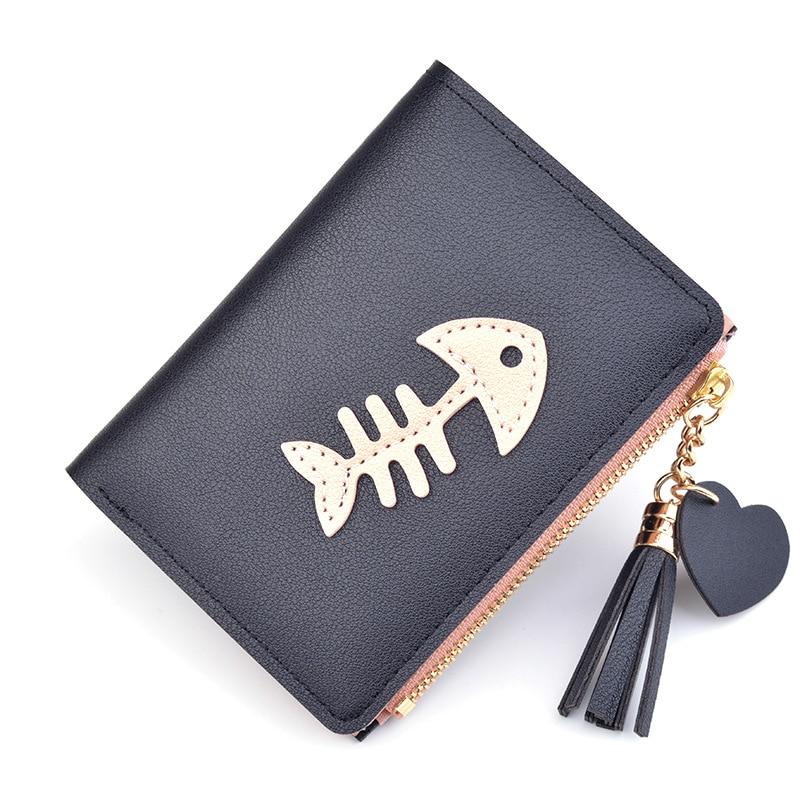 Womens Wallets Fashion Tassel Fish Bone Wallet With Coin Bag 2019 New Leather Zipper Wallet Women Female Purse Clutch Cartera