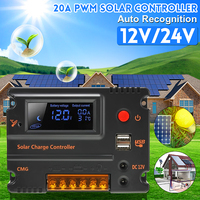 20A 12V/24V Auto Recognition Solar Controller PWM Solar Panel Battery Regulator Dual 5V Phone Charger Controller LCD Display