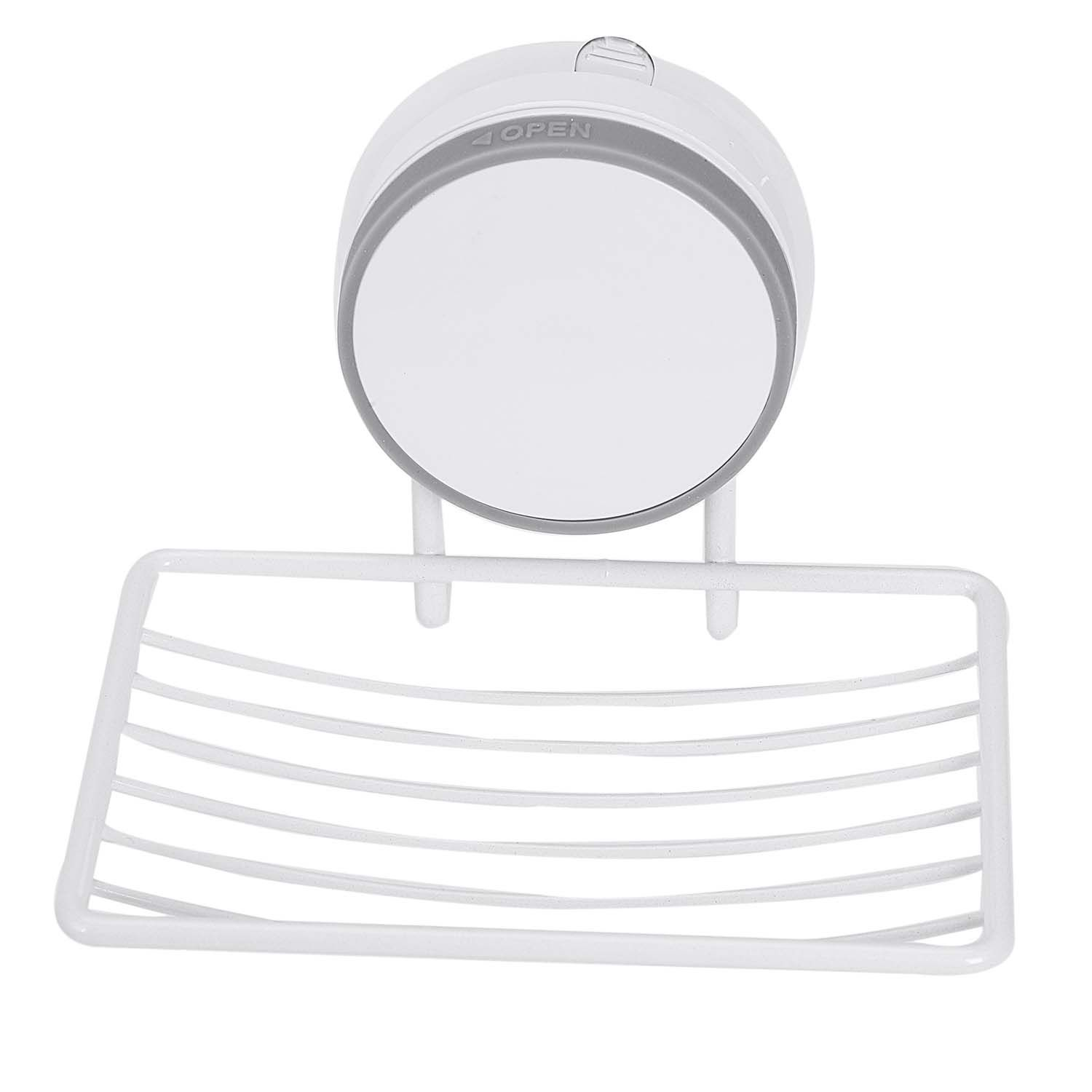 Promotion! White + Gray Soap Dish Holder, Soap Storage Saver Wall Mounted, Reusable, Kitchen Sink Bathroom Shower Accessories:
