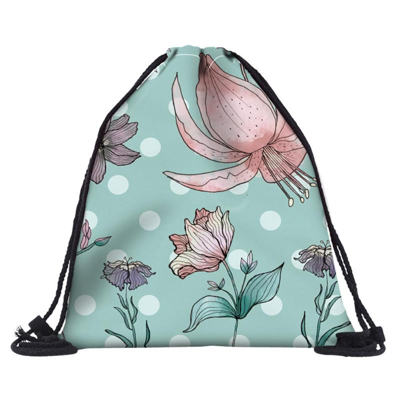 Girls New Lotus Printed Drawstring Backpack Female 3DFlower Printed Beach Bag Men Women Outdoor Sports Travel Pouch Storage BagsGirls New Lotus Printed Drawstring Backpack Female 3DFlower Printed Beach Bag Men Women Outdoor Sports Travel Pouch Storage Bags