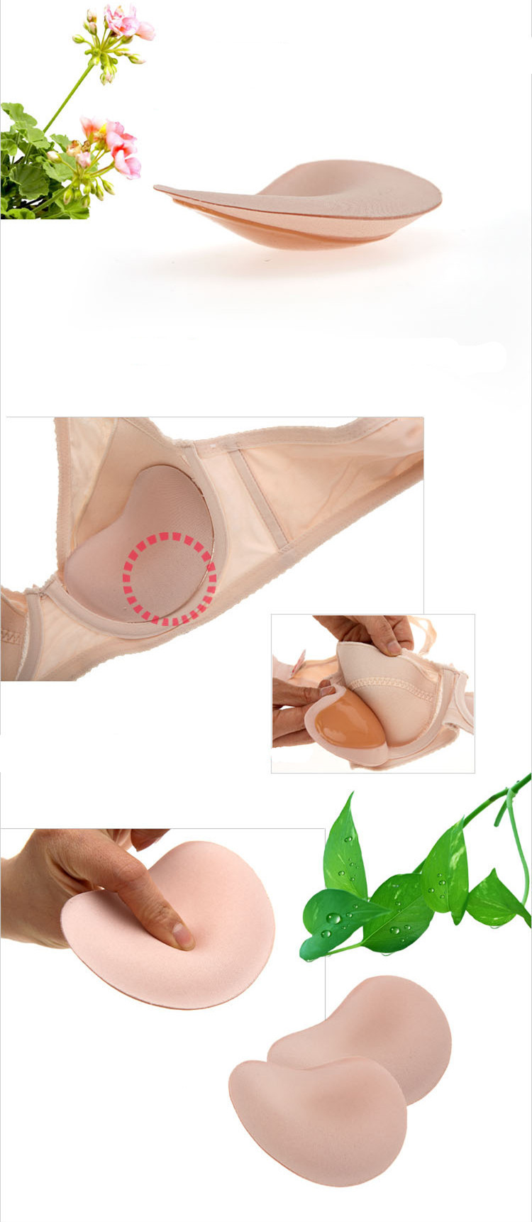 Women Sexy Adhesive Push Up bra pads Silicone Invisible Bra Strapless Backless bra cups for swimsuits removable inserts cup D E 13