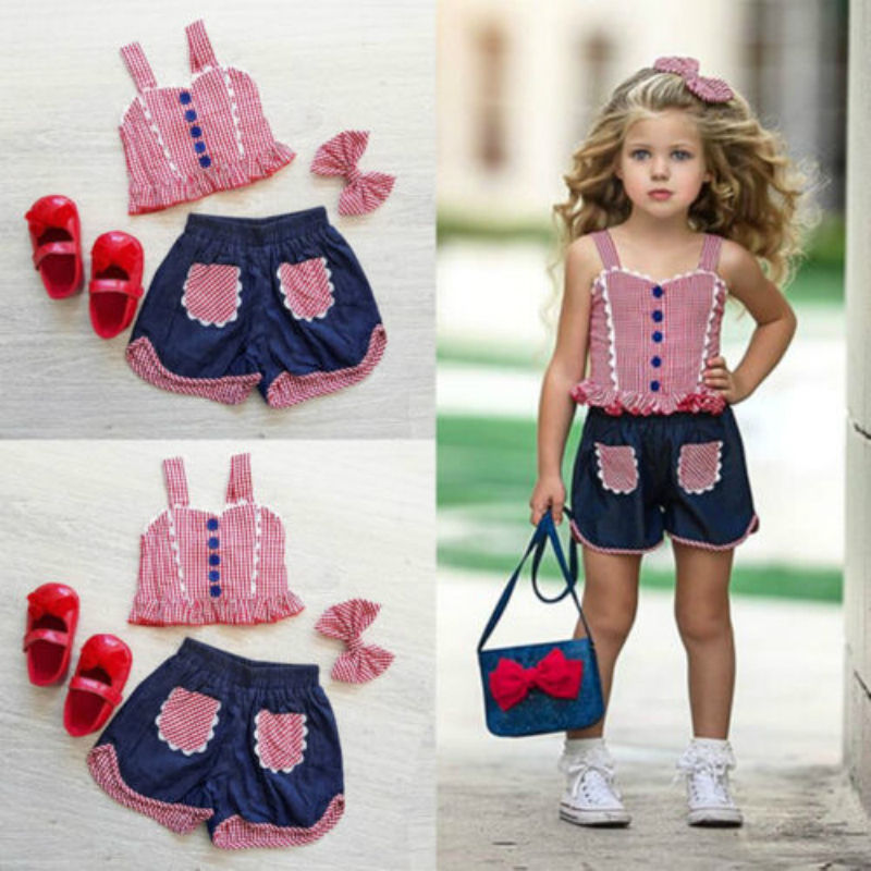 Toddler Baby Girls Plaid Vest Crop Tops Short Pants Headband Outfits Clothes USAToddler Baby Girls Plaid Vest Crop Tops Short Pants Headband Outfits Clothes USA