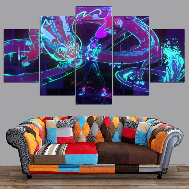 HD canvas printed painting 5 piece League of Legends KDA Akali Splash Art Home decor Poster Picture For Living Room YK-1226 3