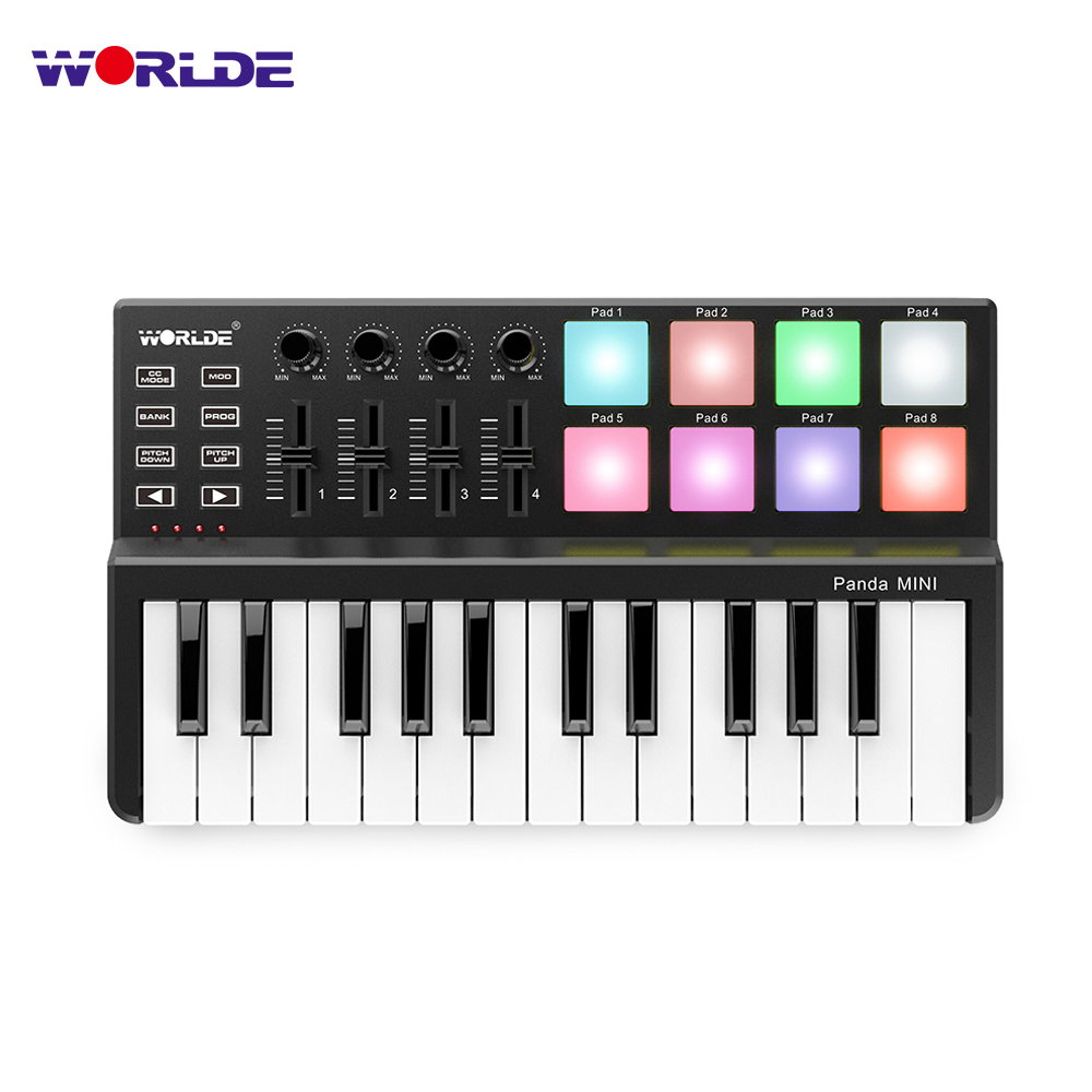 WORLDE Panda MINI 25 Key Ultra Portable USB midi keyboard Controller 8 Colorful Backlit Trigger Pads