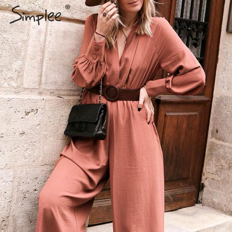Simplee Elegant v neck long sleeve women   jumpsuit   Sashes pocket loose casual summer ladies overalls Party club fashion   jumpsuits
