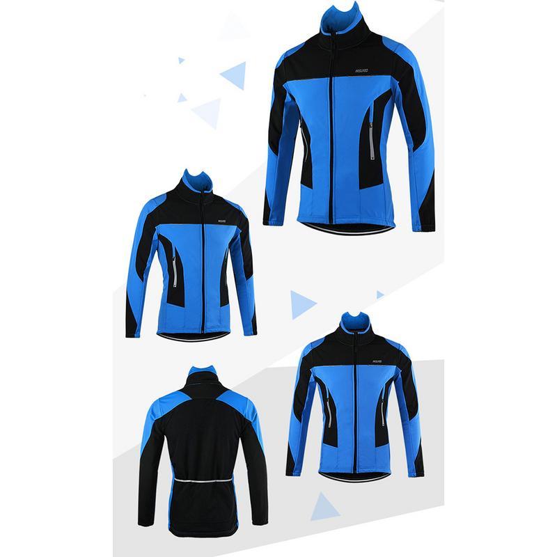 For ARSUXEO Fleece Thermal Cycling Jacket Autumn Winter Warm Up Bicycle Clothing Windproof Windbreaker Coat MTB Bike Jerseys