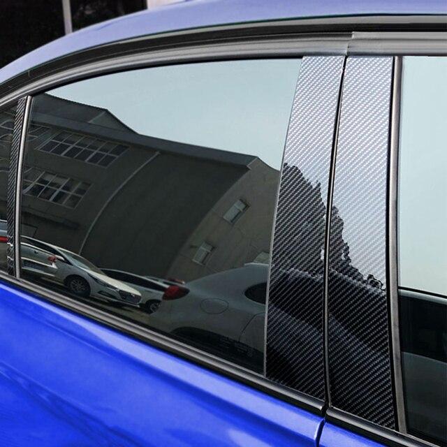 6pcs Car Carbon Fiber Window B pillar Molding Decor Cover Trim For Mercedes Benz GLA Class 2013 2014 2015 2016 2017 2018