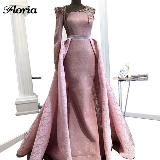 African Sparkly Evening Dresses with Detachable Skirt Robe de soiree 2018 Aibye  Turkish Long Prom Pageant Dress Moroccan Kaftans bdf0a2543358