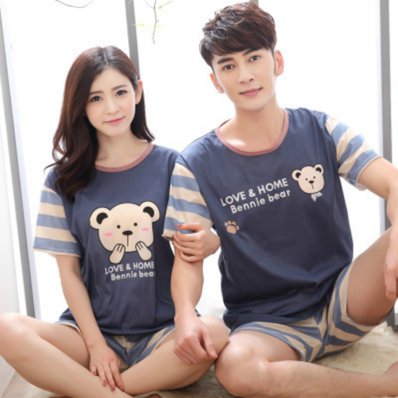 Womens   Pajamas     Sets   2019 Summer Cartoon Kawaii Cartoon Sleepwear Couple Pyjamas Nighty Female Casual Summer Stripe   Pajamas   XXL