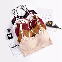 2019 Women Brassiere Bralette Tube Top Breathable Cross Underwear Prevent Exposed Seamless Bandeau Wrap Chest Fitness Padded Bra