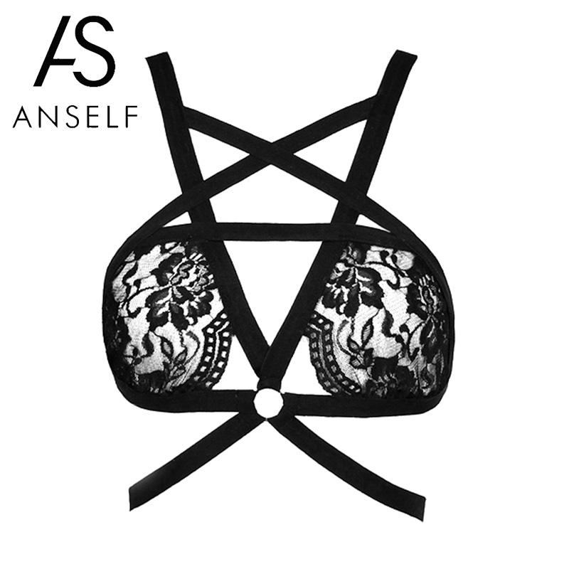 Anself Sexy Women Lingerie Sheer Lace Strappy Bondage Hollow Out Erotic Bralette Underwear Crop Top Black bandage strappy bra semi formal summer dresses