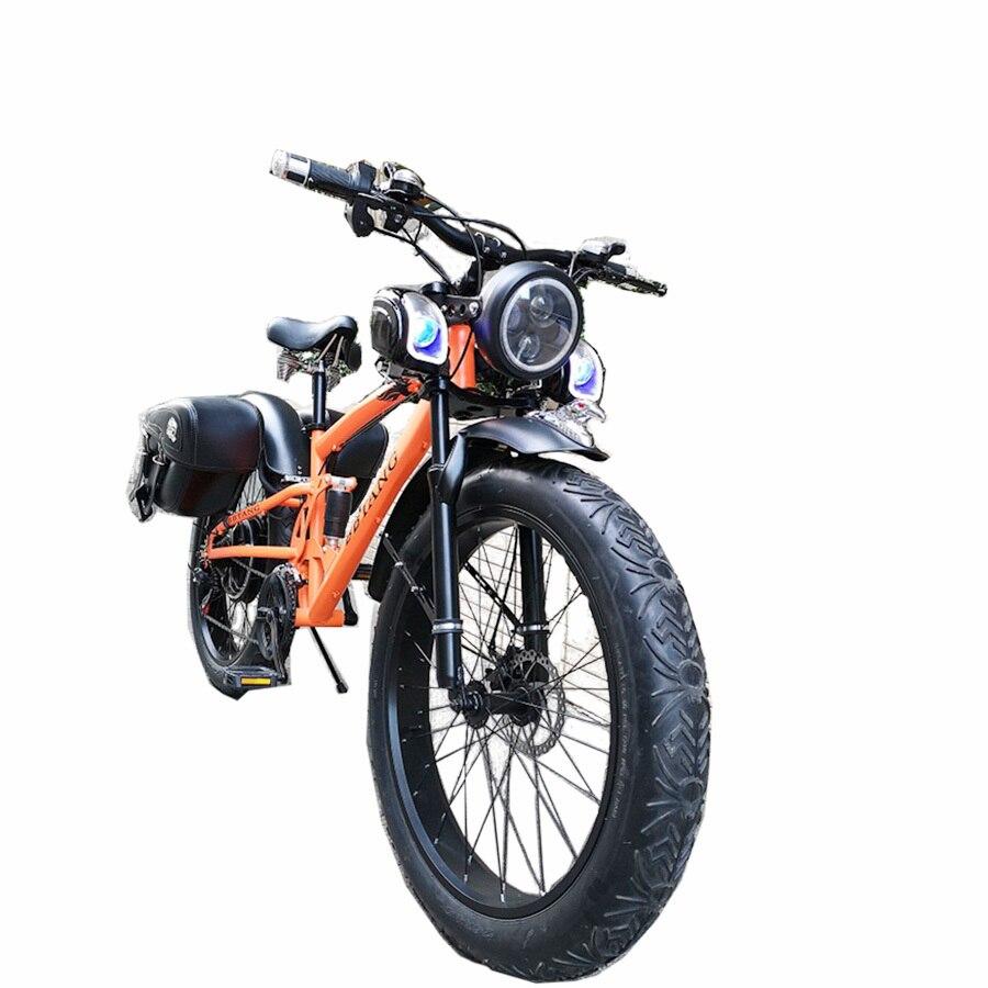 Personnalisé 26 pouces Neige vélo de montagne électrique 48 v 1000 w batterie au lithium E-moteur Graisse Ebike 4.0 Pneus vélo électrique Queue Molle neige