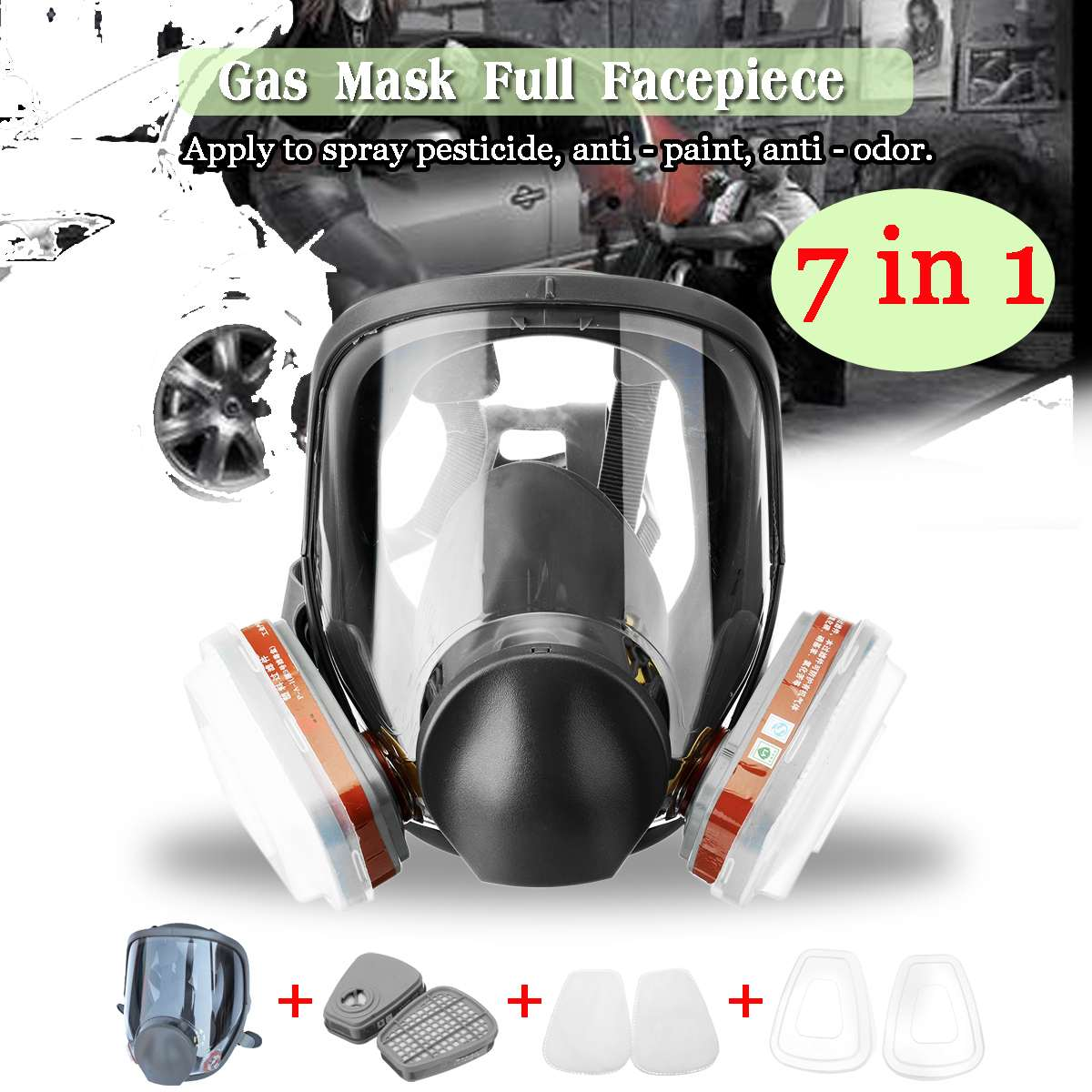 Automatic Filter Gas Mask Filters full Face  Respirator Safety Protective Mask Anti Dust Anti Organic PM 2.5 FogAutomatic Filter Gas Mask Filters full Face  Respirator Safety Protective Mask Anti Dust Anti Organic PM 2.5 Fog