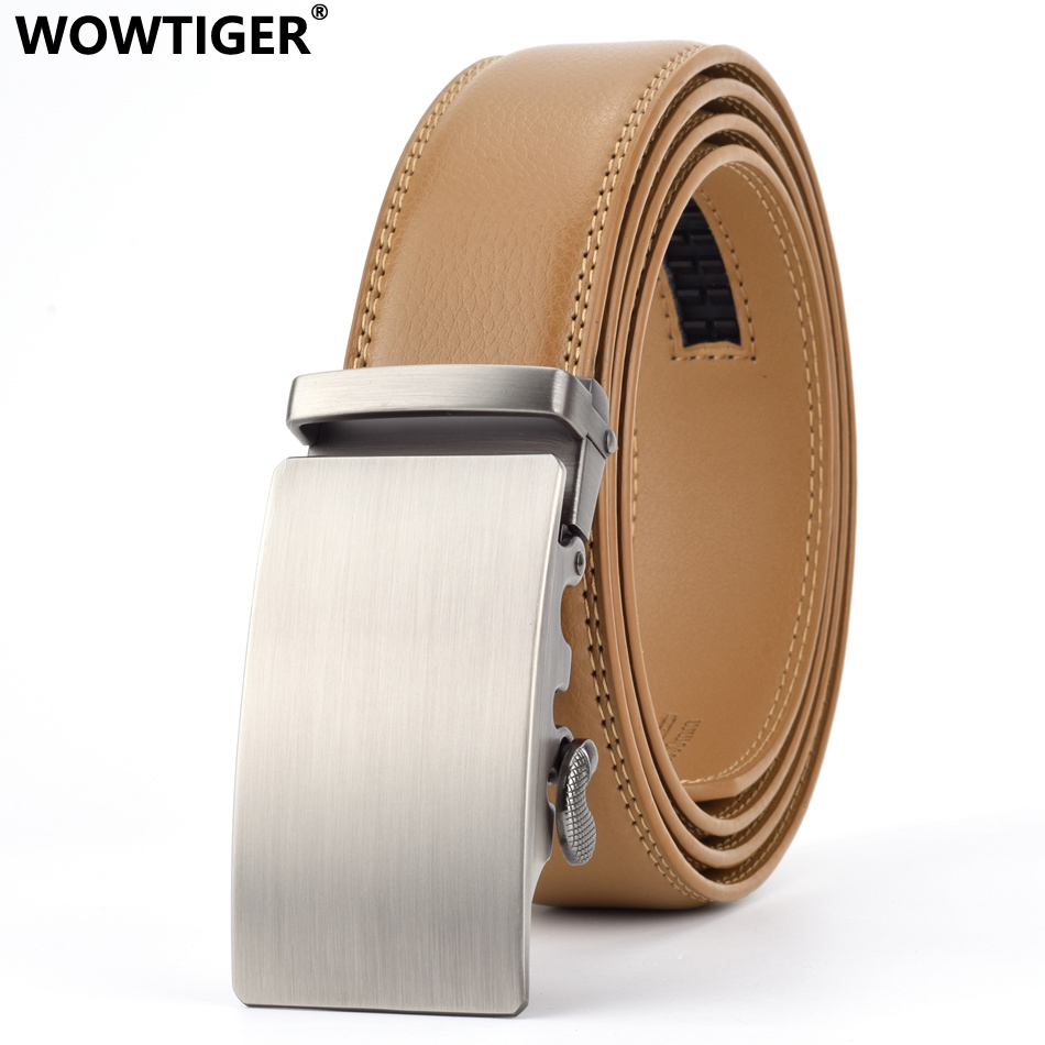 WOWTIGER 35mm Light Brown Cowhide Leather   Belt   For Men High Quality Male Brand Ratchet Automatic Luxury   belts   Cinturones Hombre