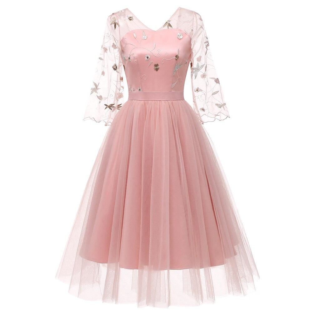 Robe Soie Vintage Broderie Bal Rose Couches De Kenancy Femmes Mousseline Élégante Printemps Gaze Robes 3 Dentelle Floral Été Pink vN0Owymn8P