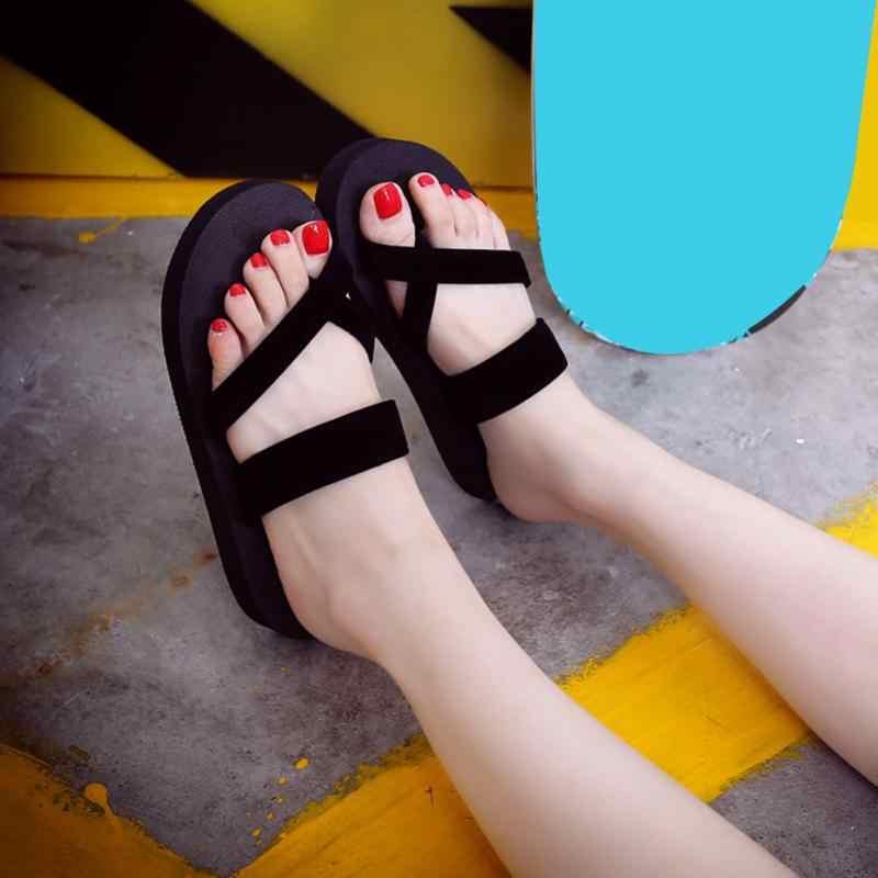 23779c0ad4b8c5 ... New Solid Black Shoes Sandal Flip Flops Women Wedge Sandals Platform  Beach Slippers Zapatillas Chinelo Sandalia ...