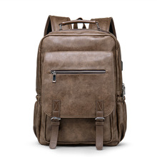 New Leather Men Backpack Retro Casual 15
