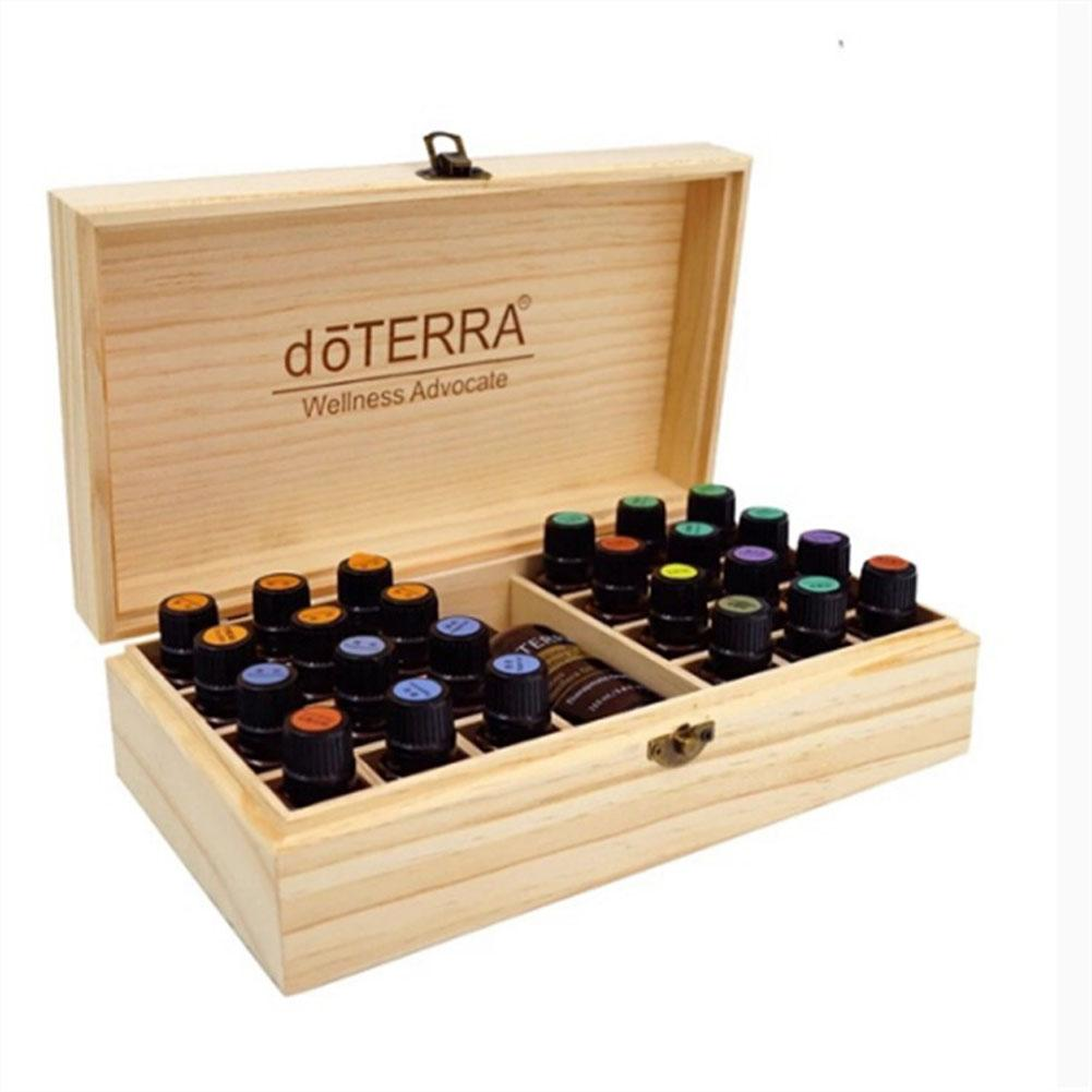 25 Grids Wooden Storage Box Organizer For Essential Oil Carrying Case Aromatherapy Container Treasure Jewelry Storage Box