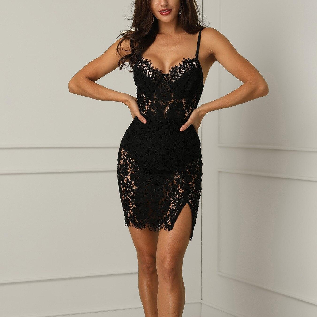 Женское черное кружевное вечернее бальное платье на выпускной вечернее короткое мини-платье