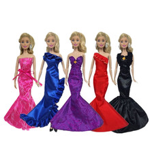 Wedding Party Gown Fashion Ruffle Mermaid Dresses Clothes For 30cm Girl Gift Handmade Dolls Dress Accessories 1Pcs