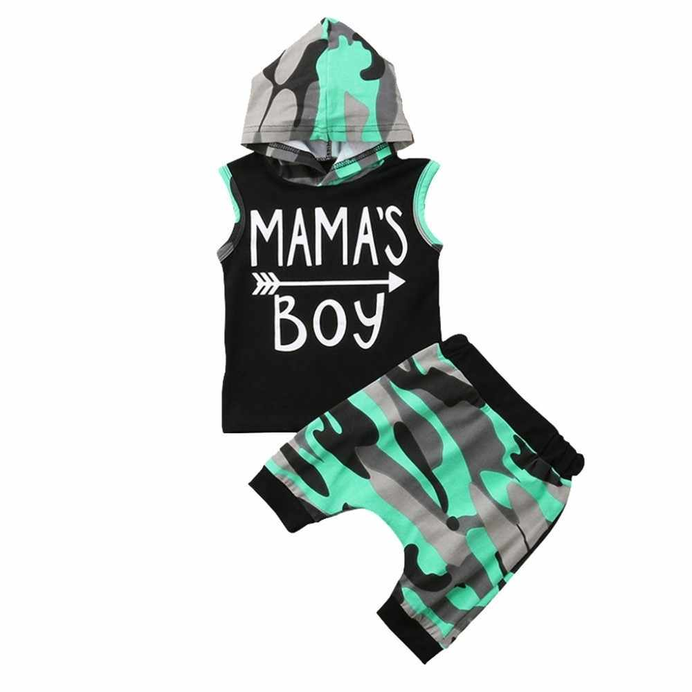 Toddler Baby Boys Letter Print Vest Hooded Tops+camouflage Shorts Outfits Sets Baby Clothes   Casual Cute Infant Cotton