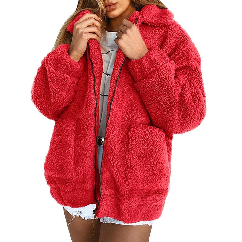 0cb25e78901241 Kobiet kurtka zimowa płaszcz Faux futro niedźwiedź pluszowy płaszcz grube  ciepłe fałszywy polar kurtka puszyste kurtki płaszcz 3XL Plus rozmiar  znosić w ...