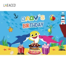 Laeacco Cartoon Seabed Dolphin Birthday Party Backdrop Photography Backgrounds Customized Photographic For Photo Studio