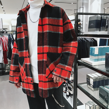 2019 Men's Woollen Cloth Lattice Printing Long Sleeves Mens Brand Shirt Loose Coats Red/green French Cuff Shirts Plus Size M-2XL
