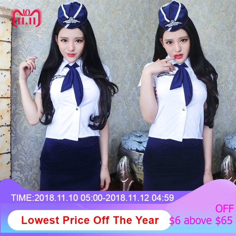 2018 New Sexy Sailor uniforms Japanese Girl Student Stewardess Role Play Cosplay Costume Flight Attendant Women Erotic lingerie