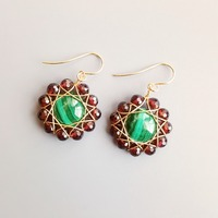 LiiJi Natural Garnet Real Malachite Vintage Style Drop Earrings 925 Sterling Silver Handmade Delicate Jewelry For Women Gift