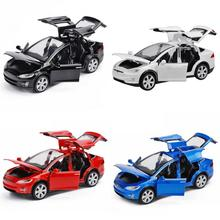 1:32 Tesla Model X90 Metal Acousto-optic Pull-back Toy Car