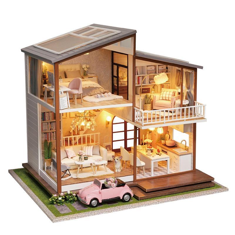 Luxury  Dollhouse  Big villa zabawki dla dzieci kids miniature dollhouse Furniture Toy  for children Xmas best giftLuxury  Dollhouse  Big villa zabawki dla dzieci kids miniature dollhouse Furniture Toy  for children Xmas best gift